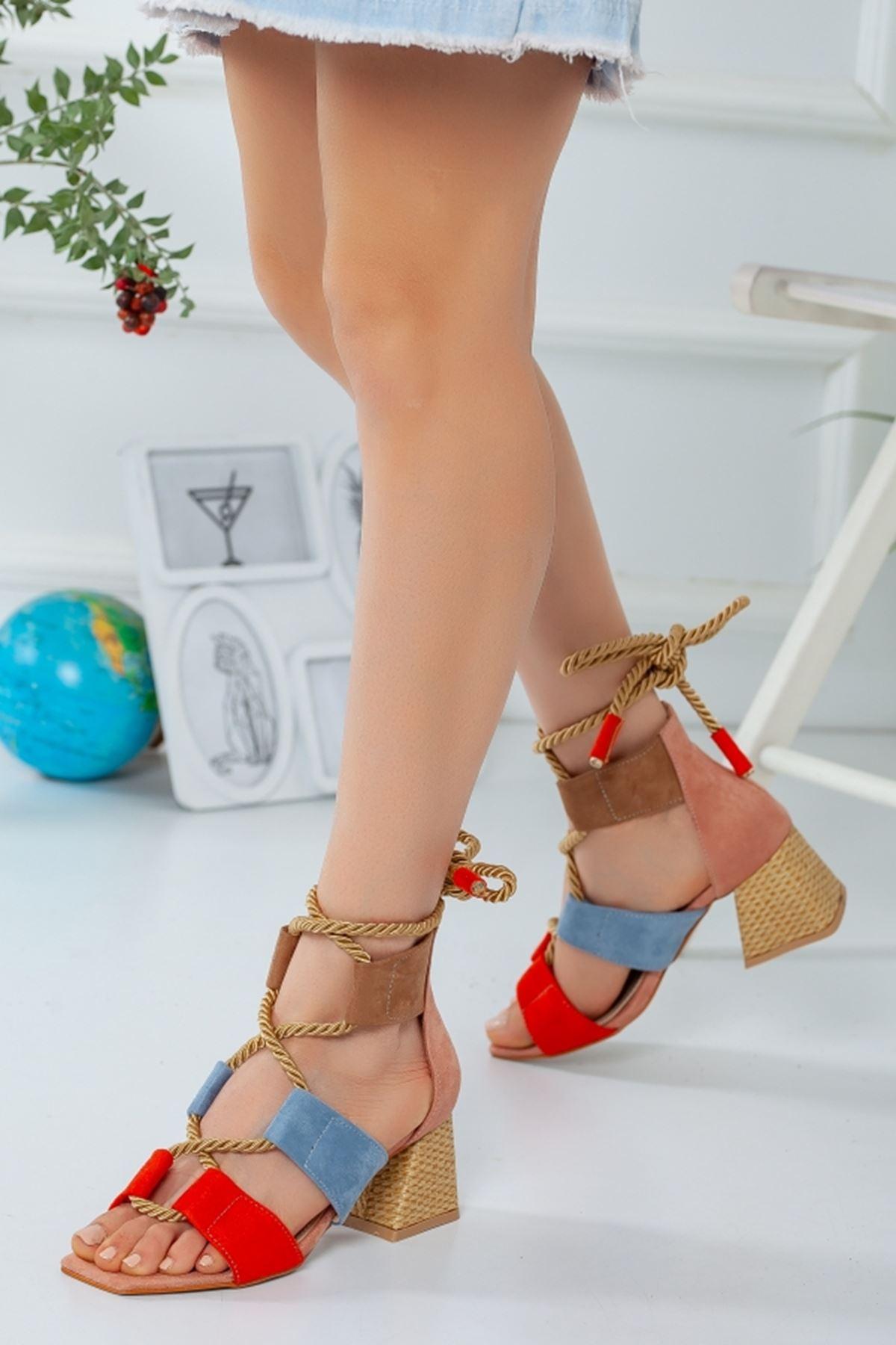 Multi Halatlı Topuklu Ayakkabı