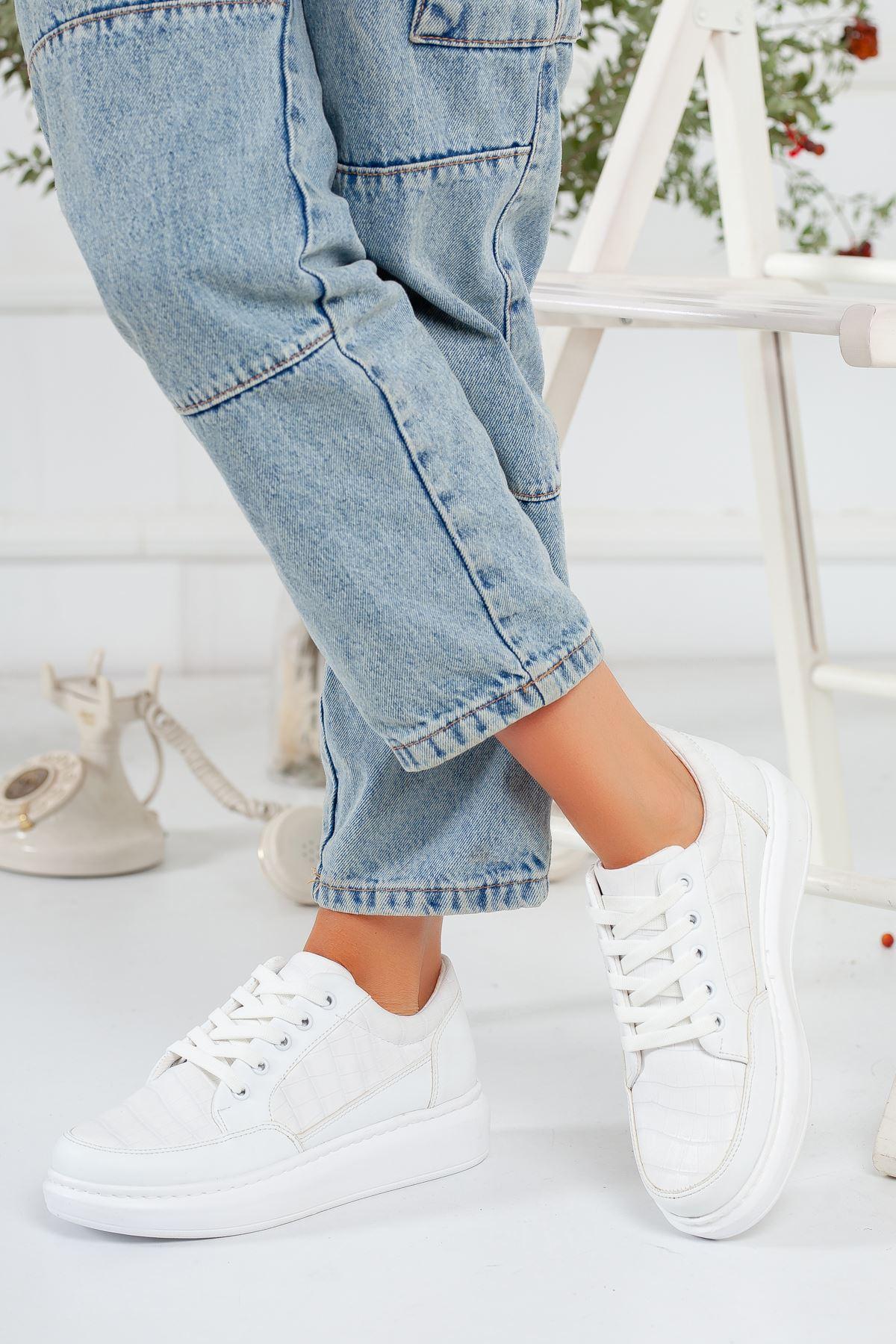 Beyaz Kroko Sneaker