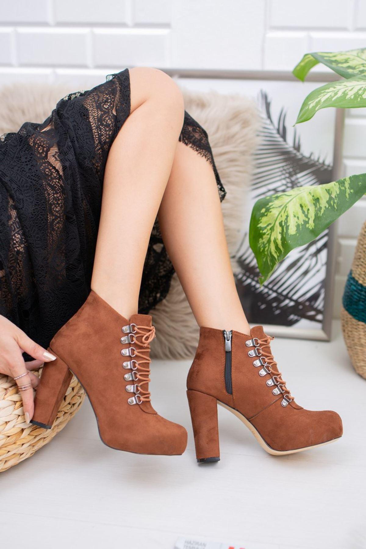 Taba Süet Kancalı Platform Topuklu Ayakkabı