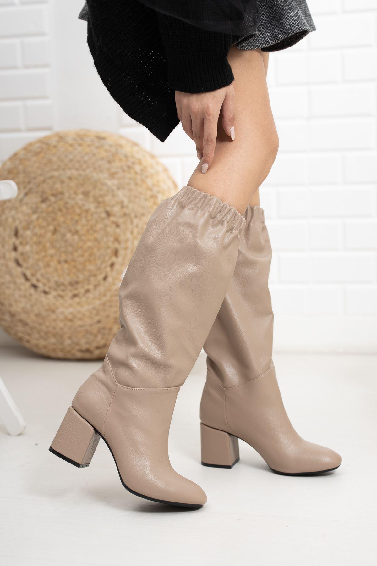 Vizon Cilt Lastikli Dizaltı Topuklu Çizme