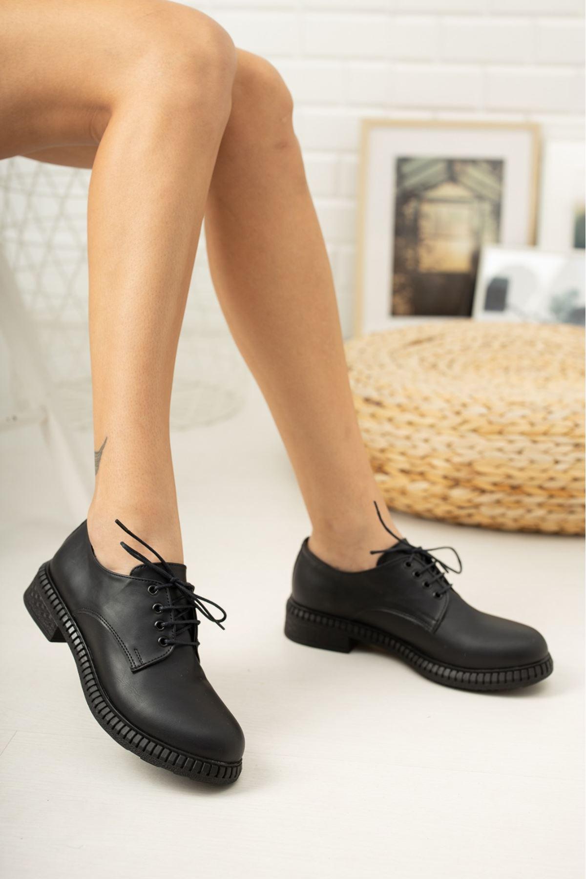Siyah Cilt Kadın Oxford Ayakkabı