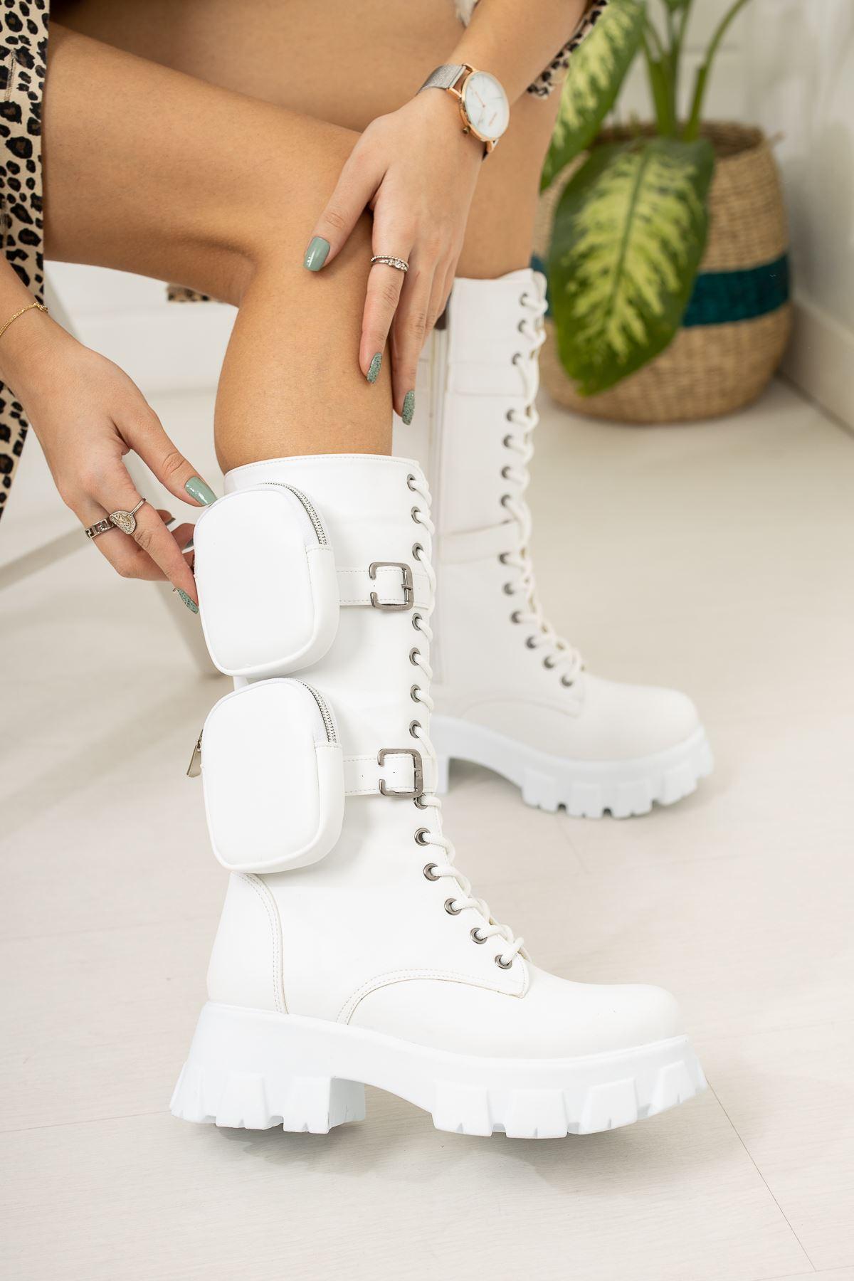 Prada Çift Cüzdanlı Beyaz Çizme