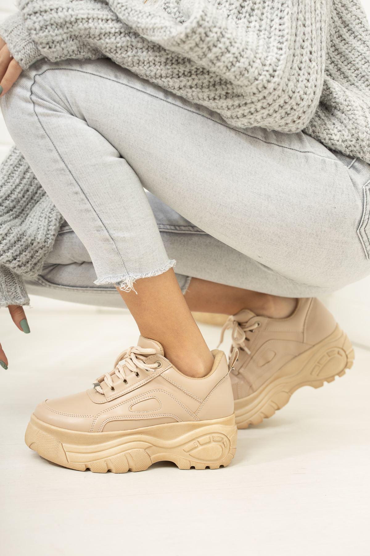 Nude Yüksek Taban Sneaker