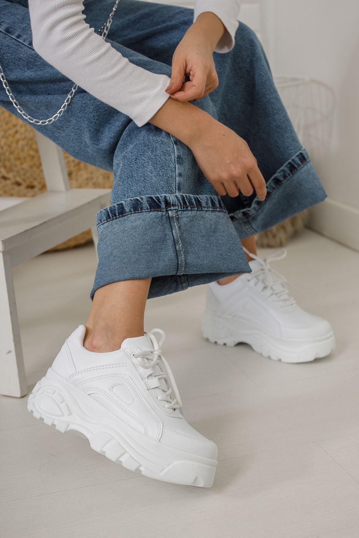 Beyaz Yüksek Taban Sneaker