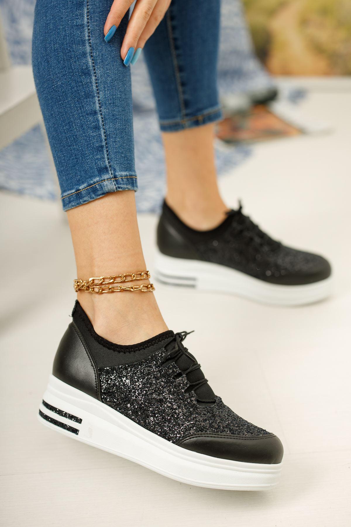 Siyah Simli Streç Beyaz Taban Günlük Spor Ayakkabı
