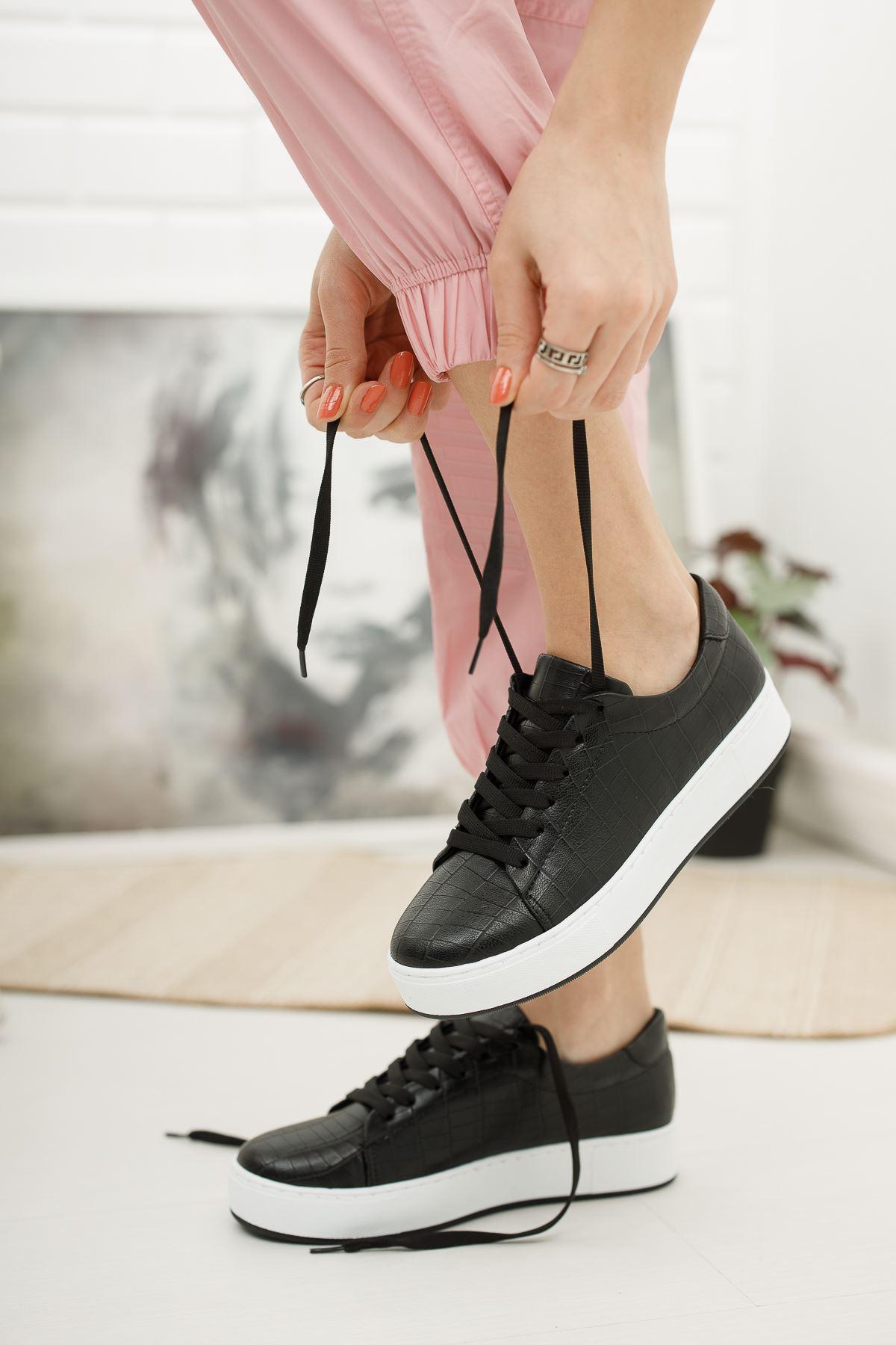 Düz Siyah Kroko Günlük Spor Ayakkabı