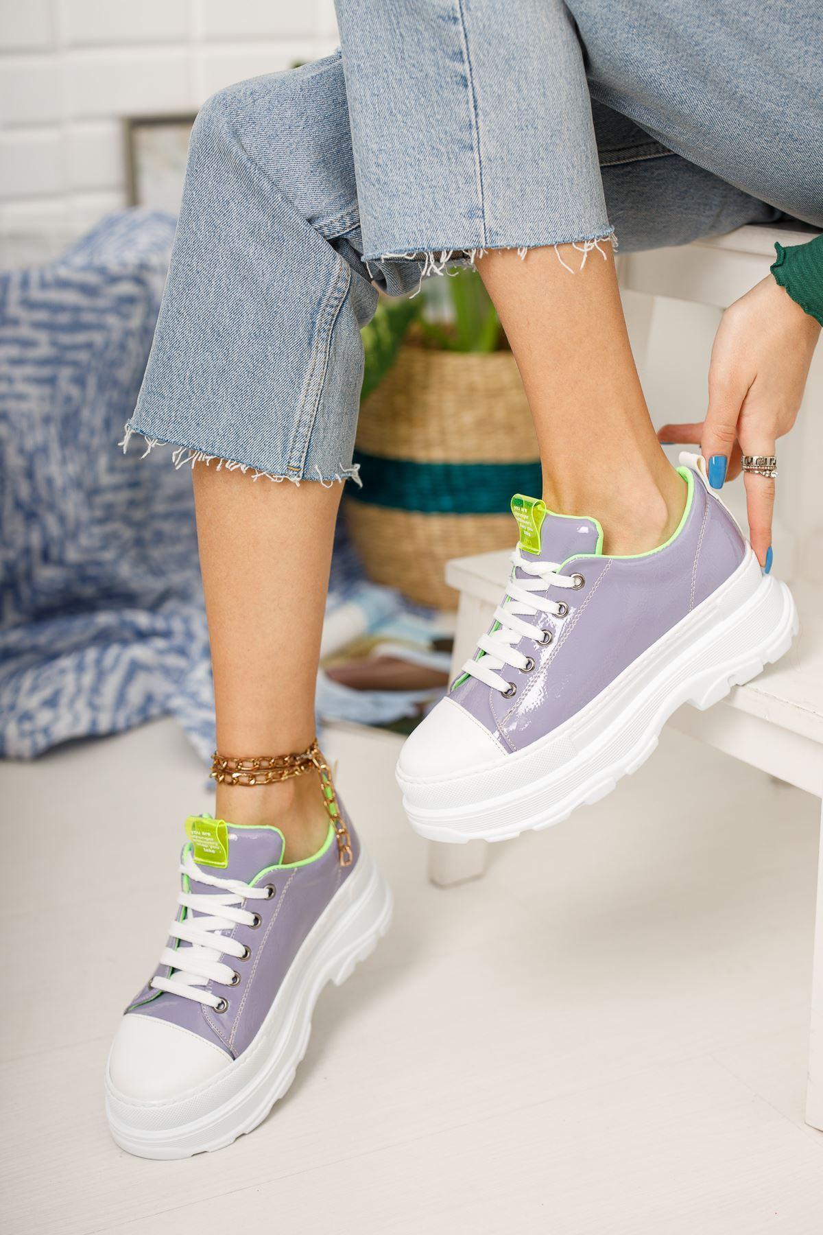 Mor Rugan Kalın Taban Bağcıklı Günlük Spor Ayakkabı