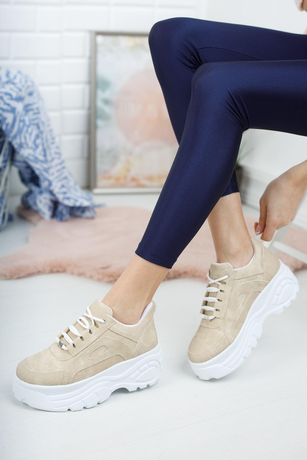 Bej Yüksek Taban Sneaker
