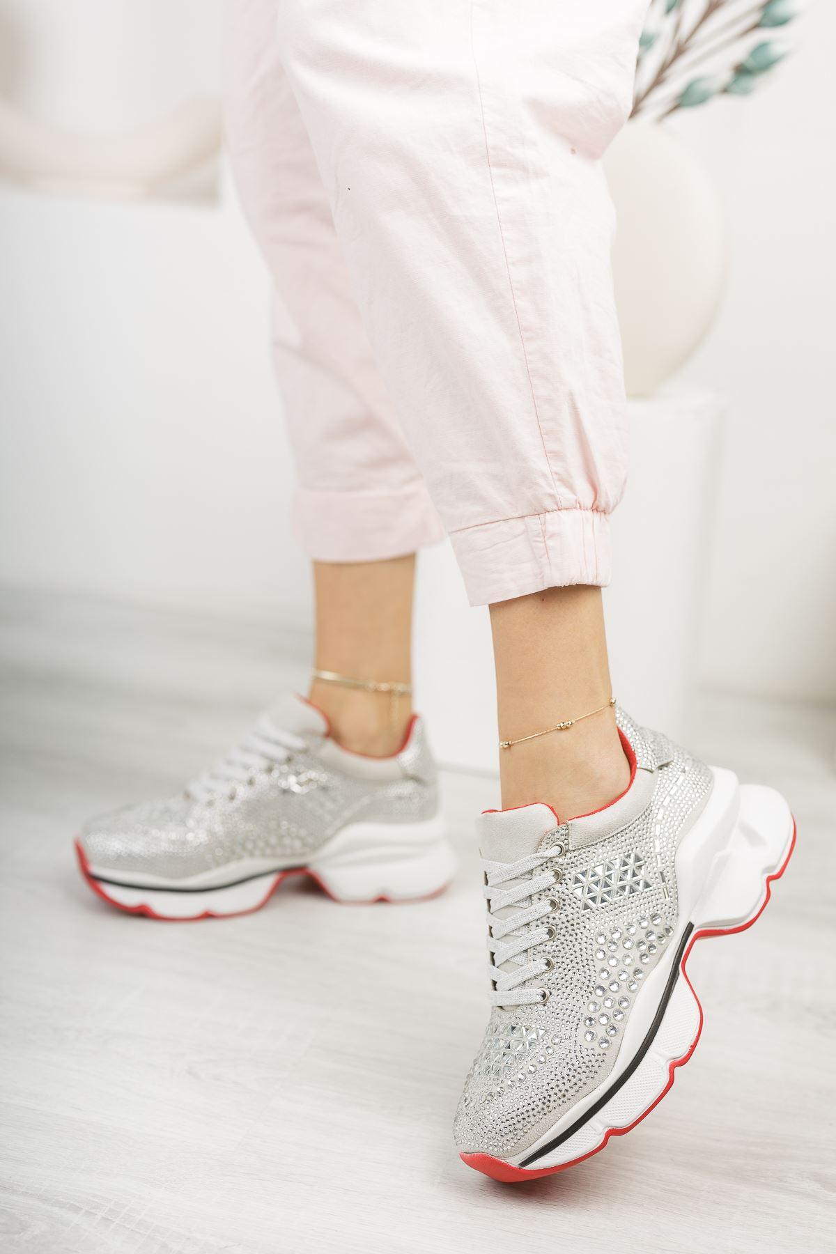 Taşlı Gümüş Sneaker