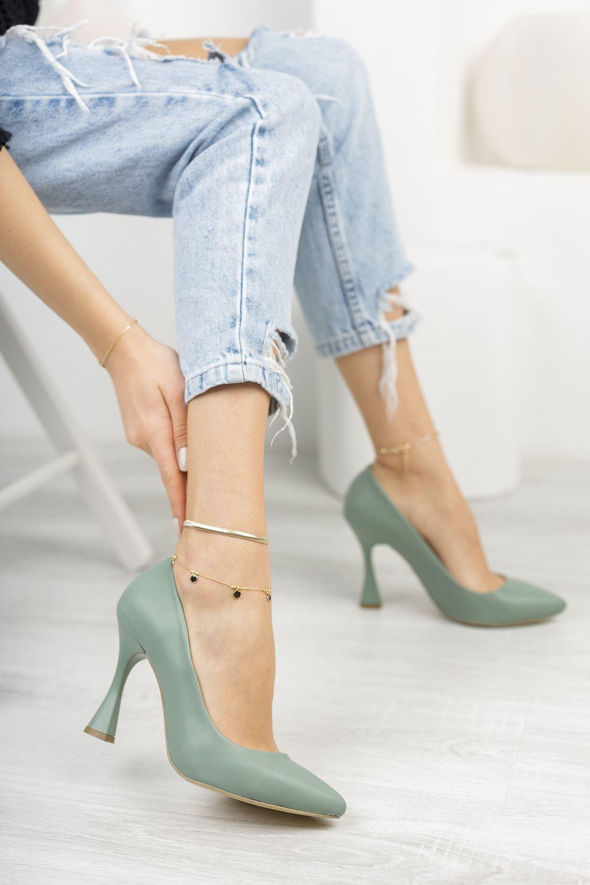 Su Yeşili Stiletto Topuklu Ayakkabı