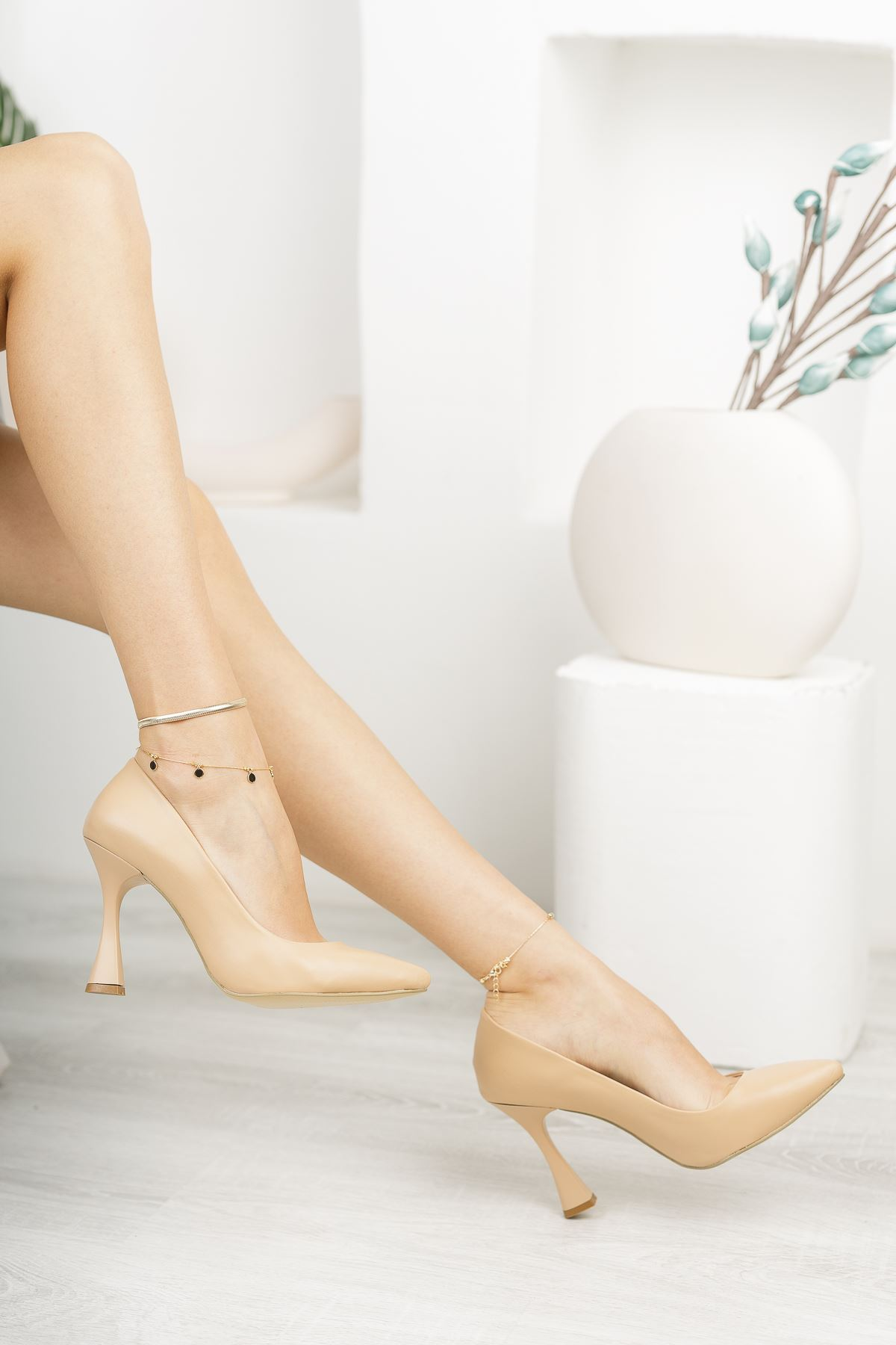 Nude Stiletto Topuklu Ayakkabı