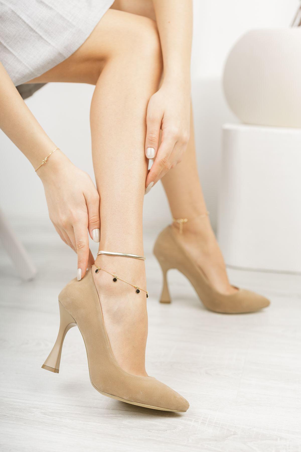 Vizon Süet Stiletto Topuklu Ayakkabı