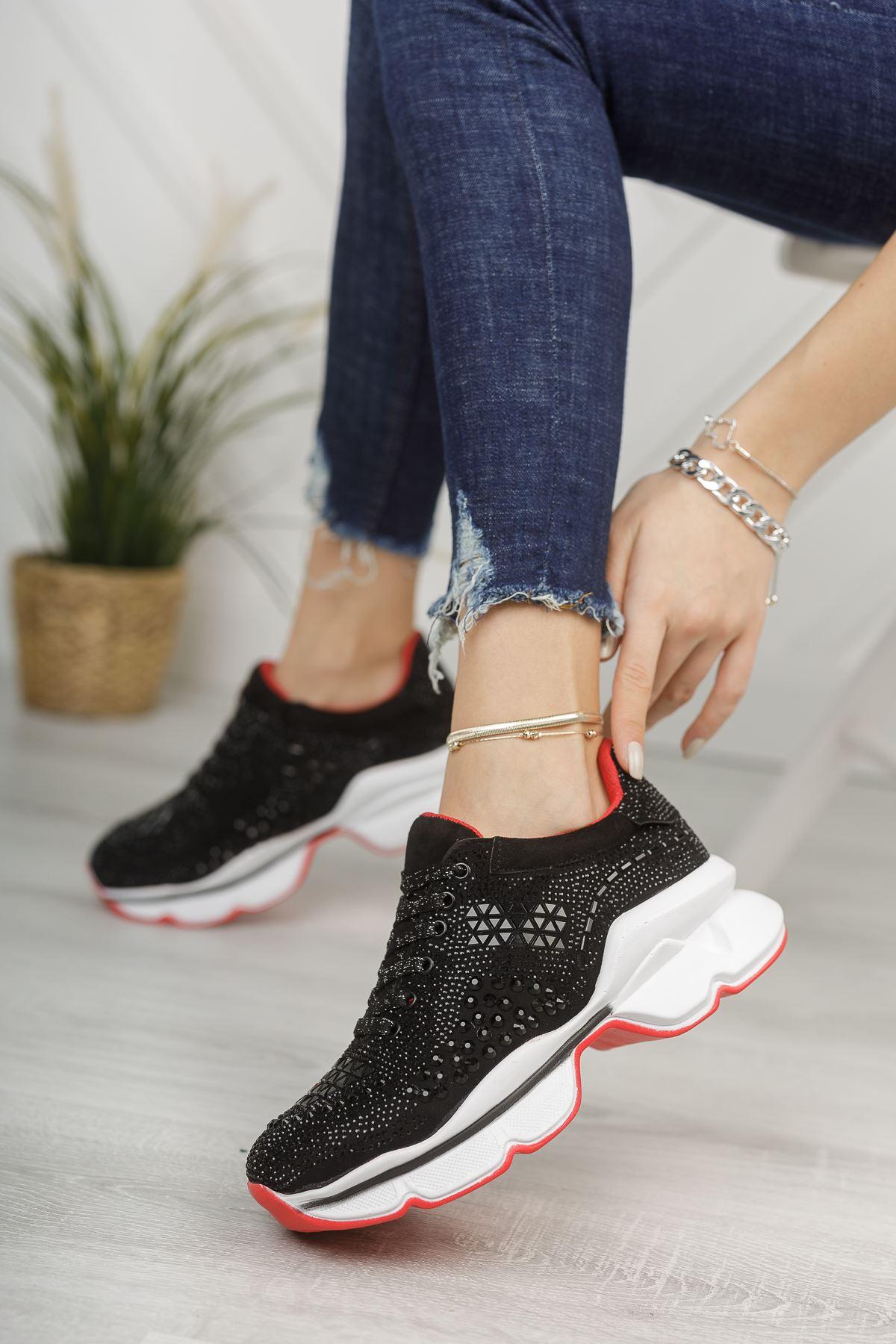 Taşlı Siyah Sneaker