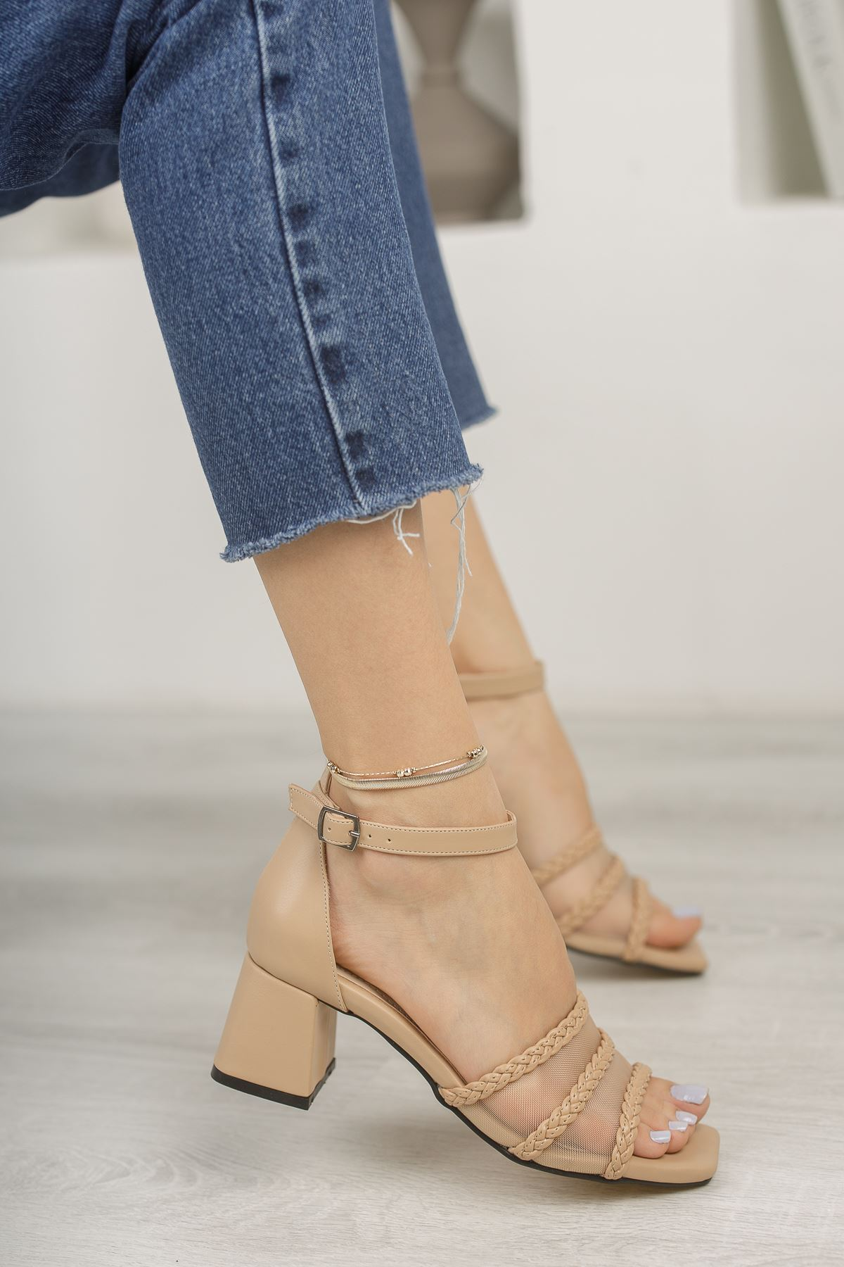 Nude File ve Örgü Detaylı Klasik Topuklu Ayakkabı