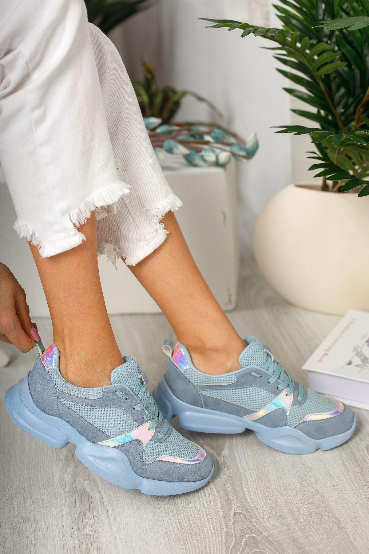 Bebe Mavi Hologram Detaylı Günlük Spor Ayakkabı