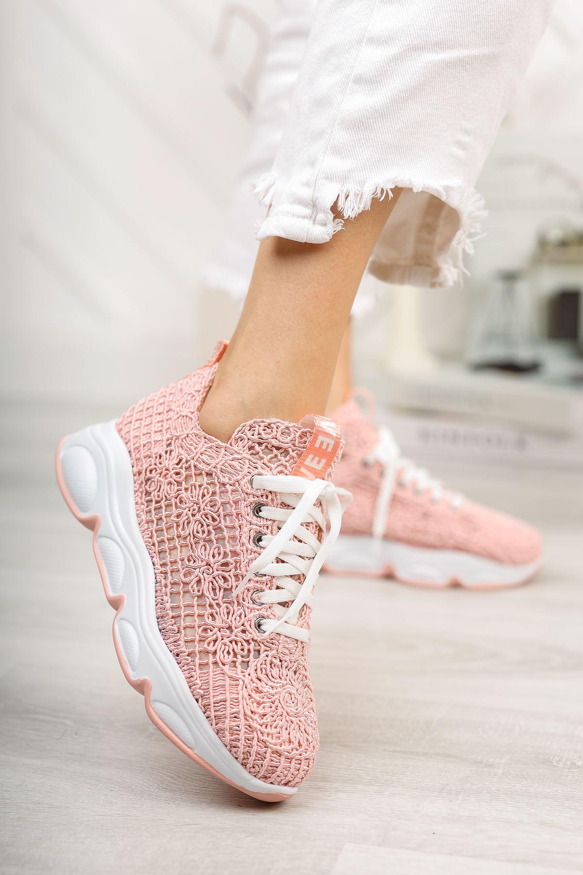 Pembe El Örgüsü Günlük Spor Ayakkabı