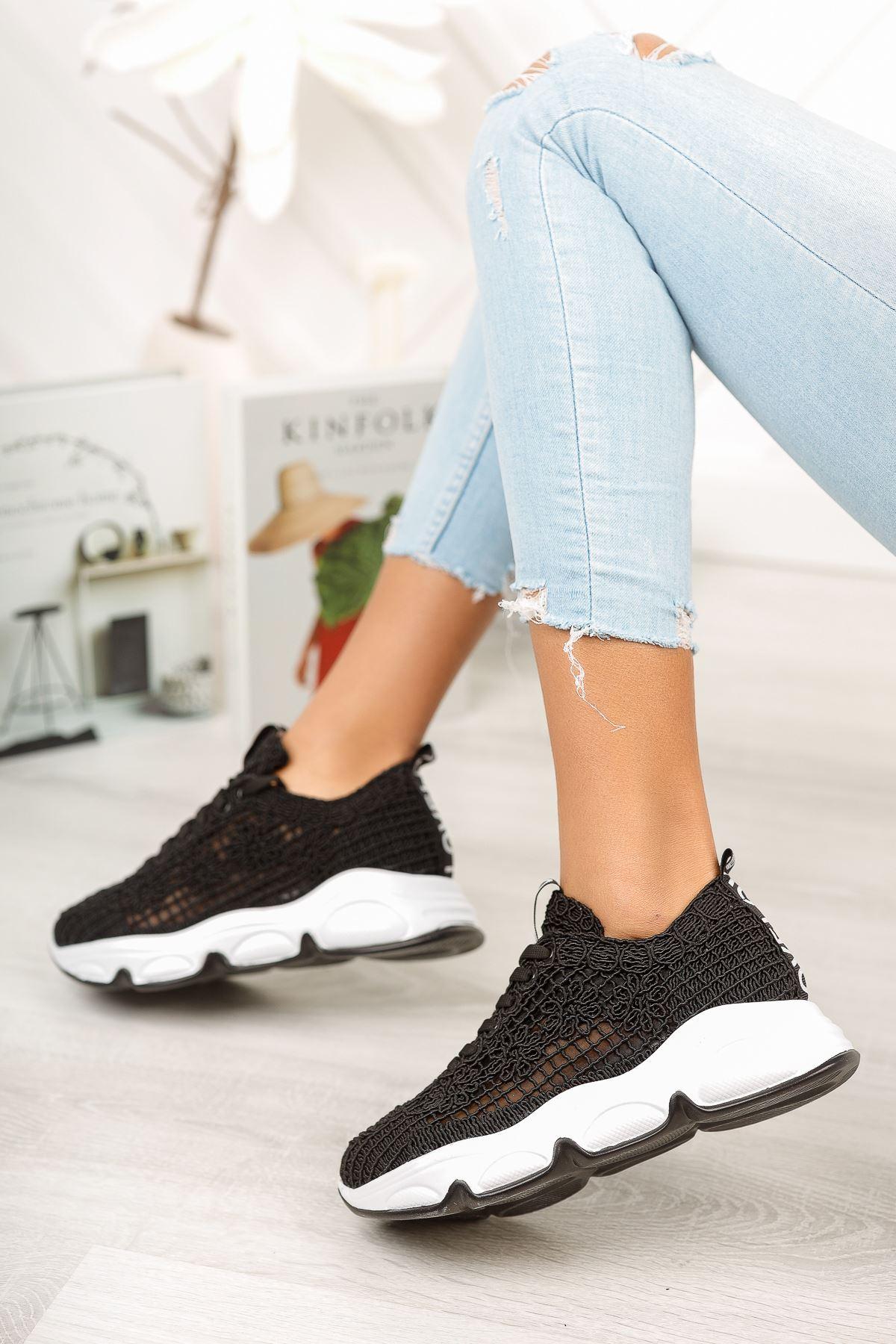 Siyah El Örgüsü Günlük Spor Ayakkabı