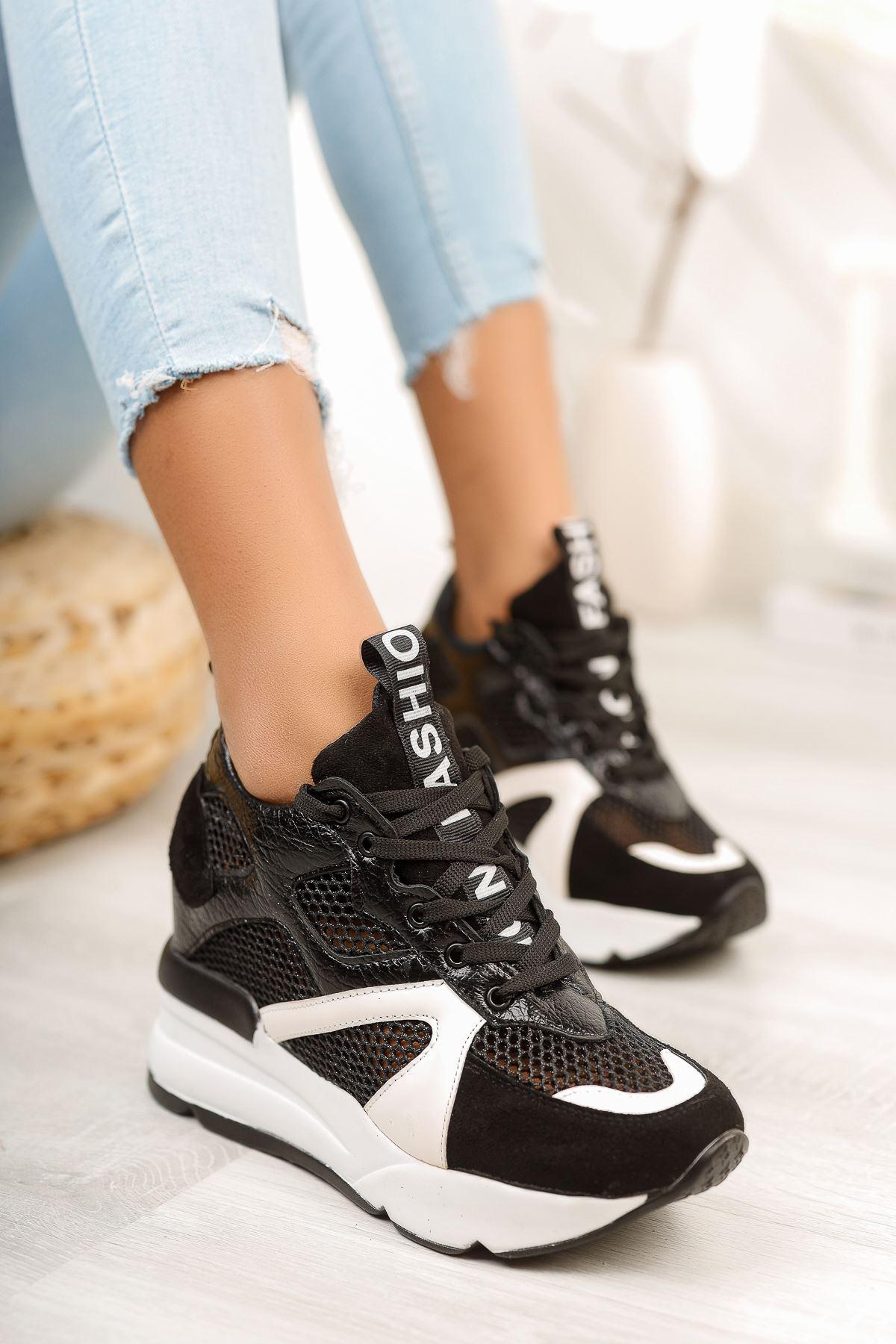 Siyah File Detaylı Gizli Topuklu Spor Ayakkabı