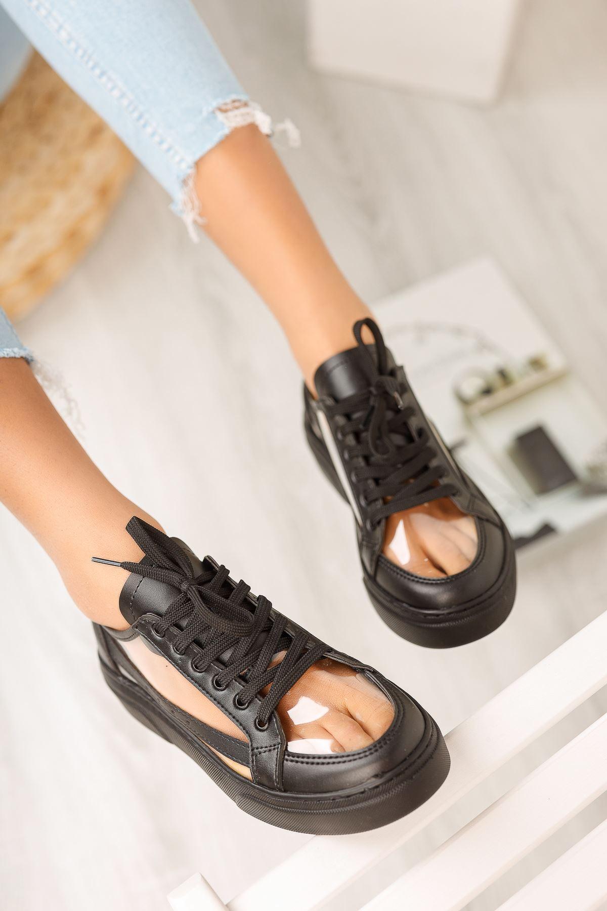 Siyah Şeffaf Bağcıklı Spor Ayakkabı