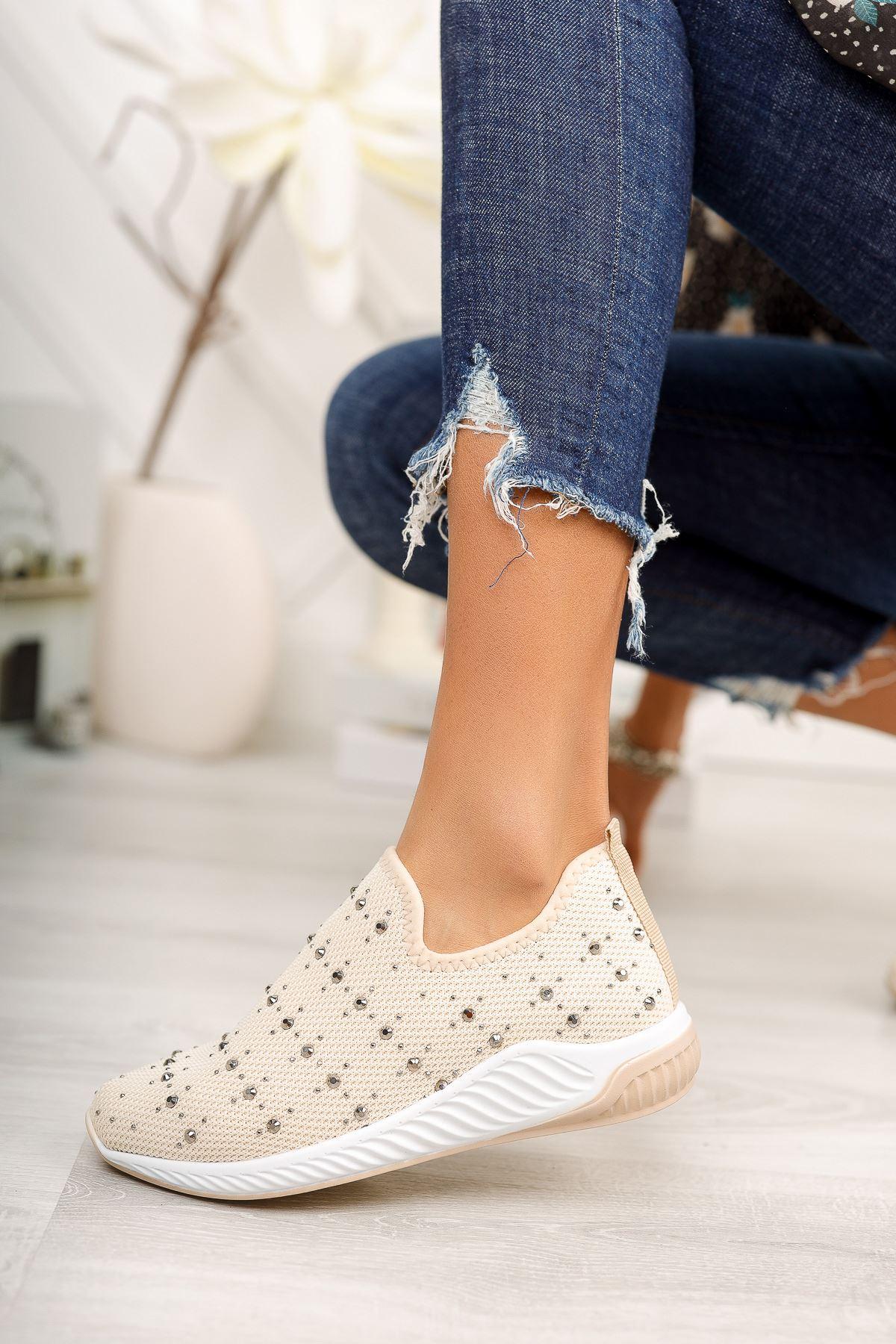 Bej Taşlı Bağcıksız Triko Spor Ayakkabı