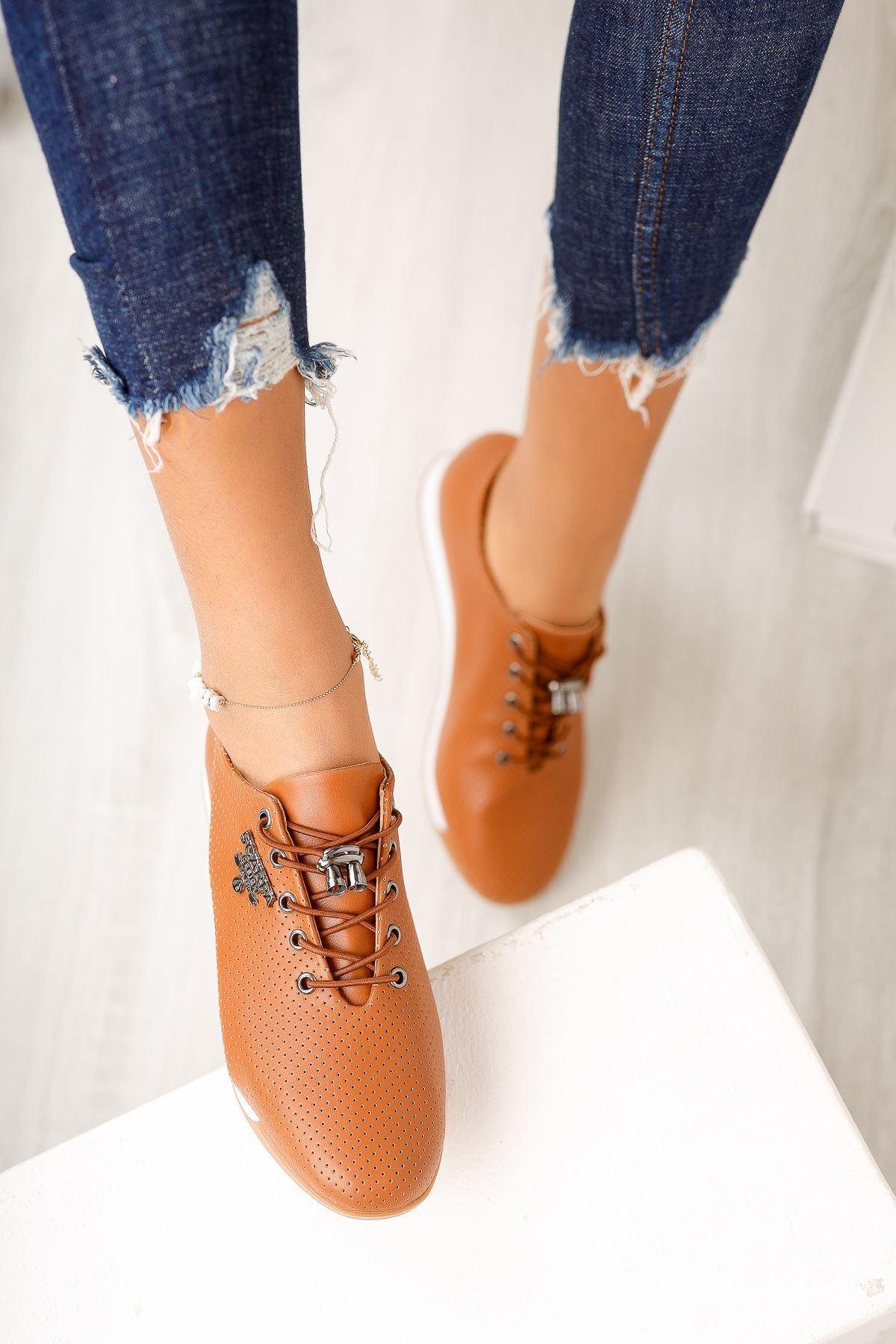 Taba Bağcık Detaylı Günlük Ayakkabı