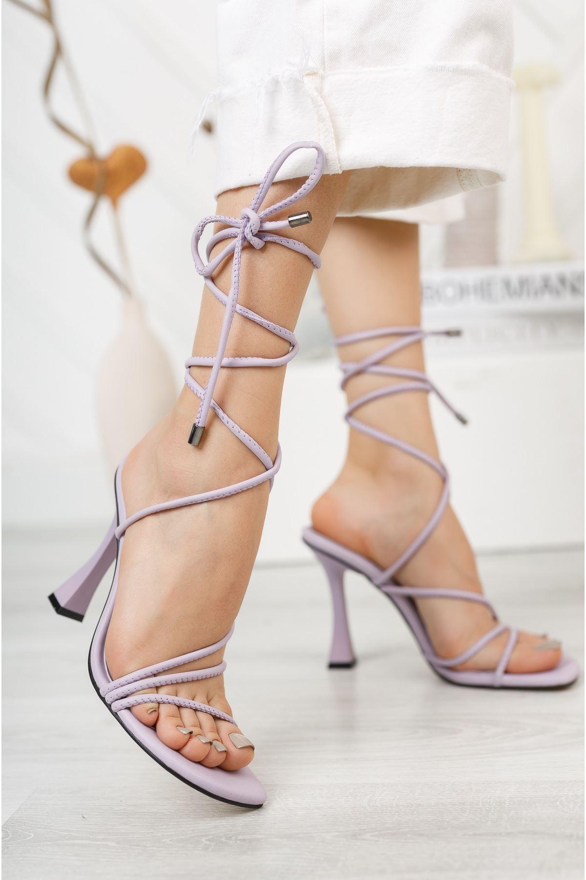 Lila Bilekten Bağlama Detaylı Yüksek Topuklu Ayakkabı