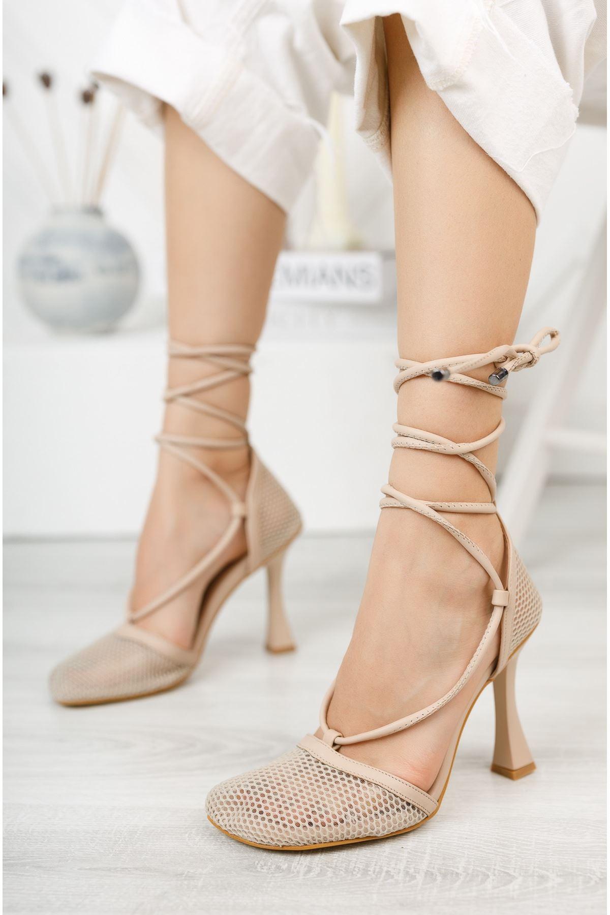Nude Fileli Bilekten Bağlamalı Yüksek Topuklu Ayakkabı