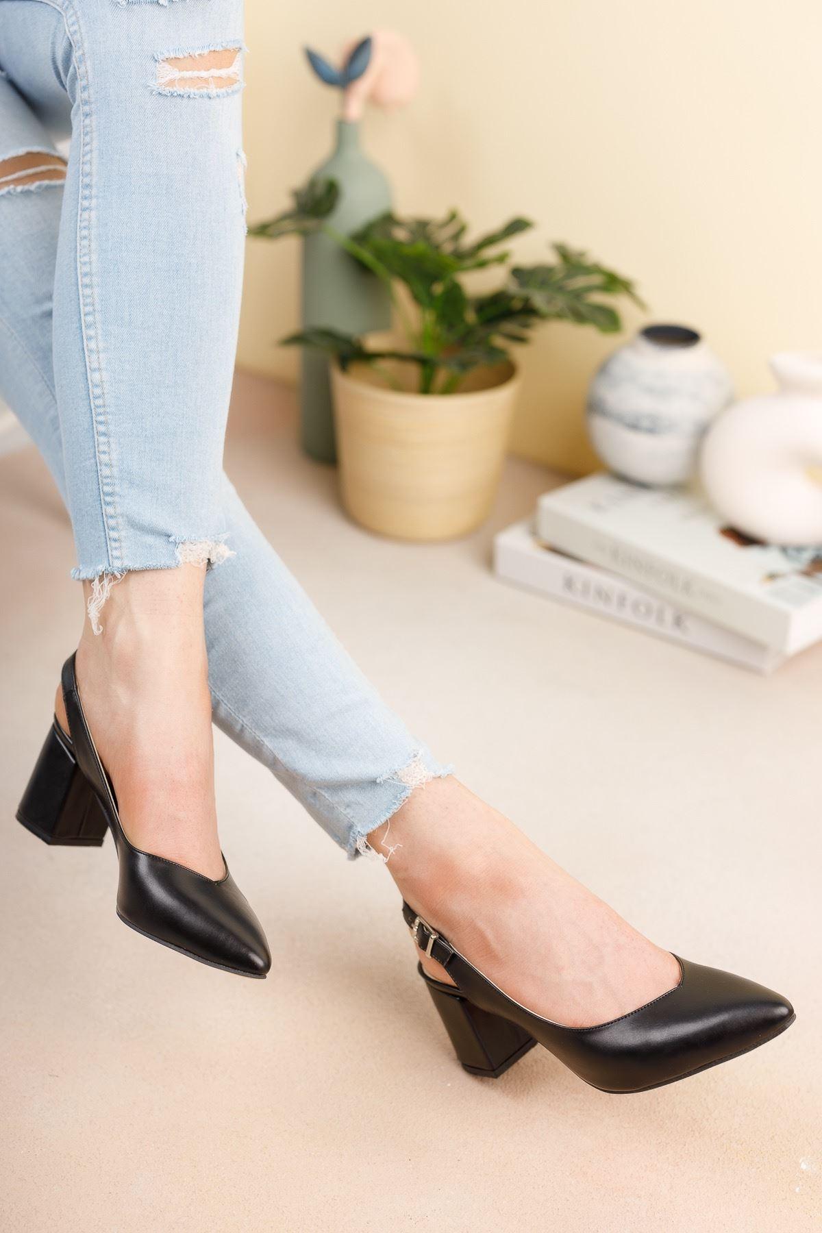 Siyah Cilt Günlük Orta Topuklu Ayakkab