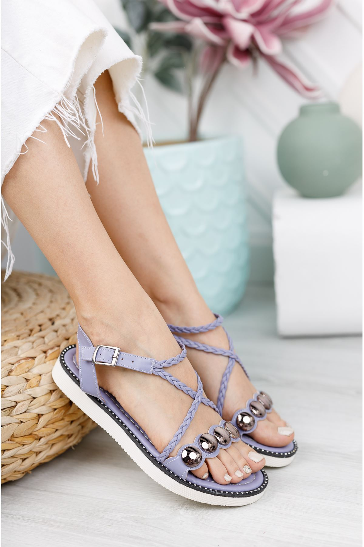 Lila Düz Taban Sandalet