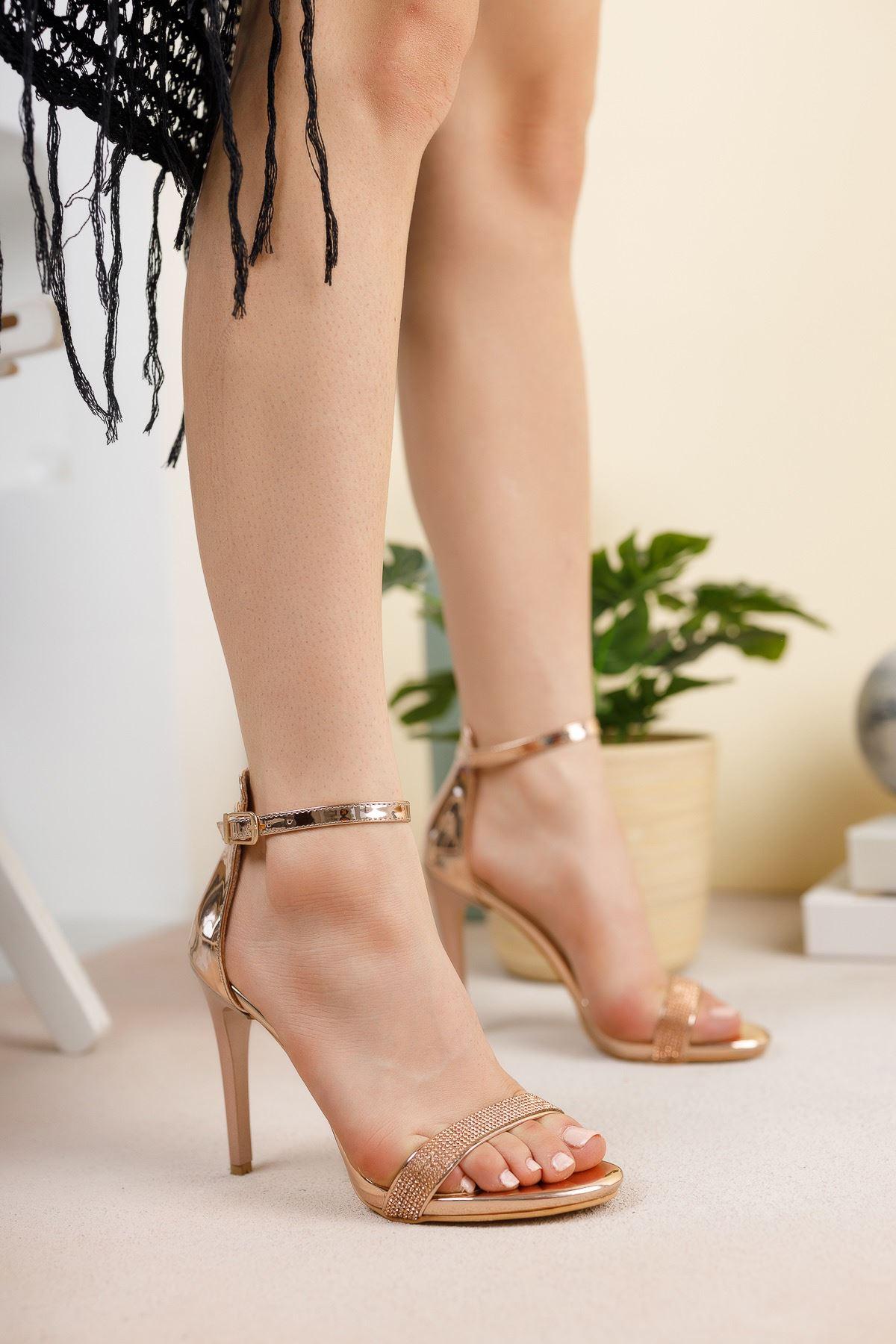 Rose Ayna Tek Bant İnce Yüksek Topuklu Abiye Ayakkabı