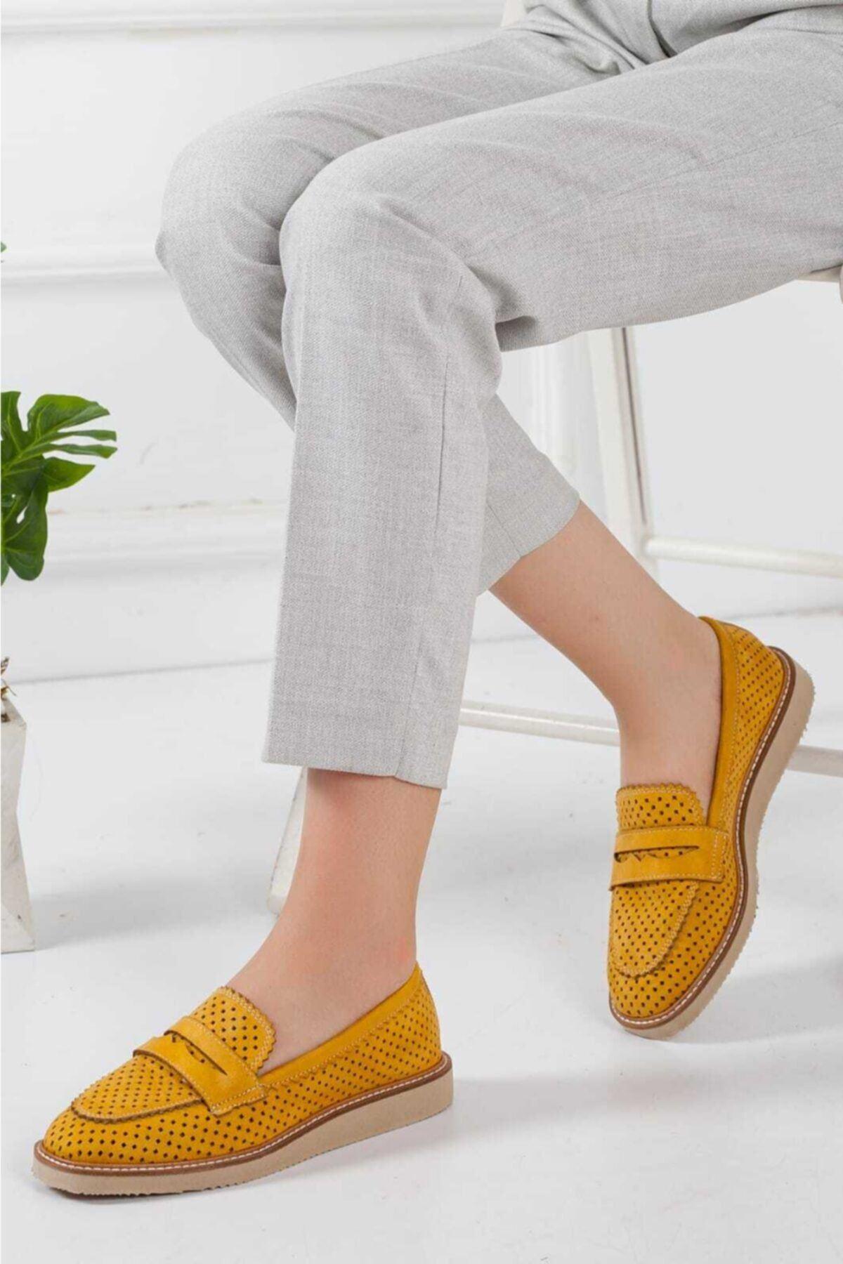 Hardal Kadın Loafer Günlük Ayakkabı