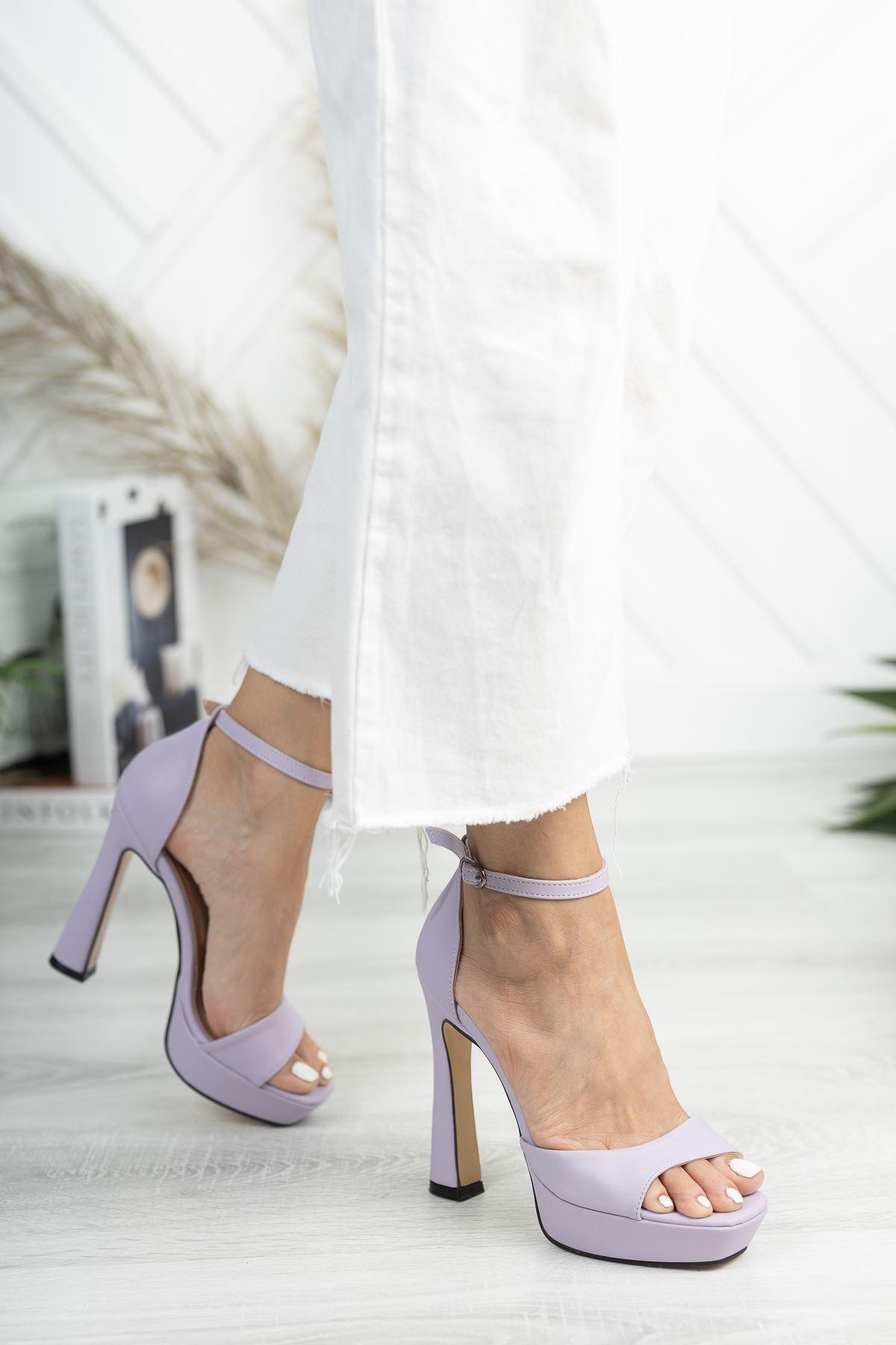 Düz Lila Tek Bant Yüksek Platform Topuklu Ayakkabı