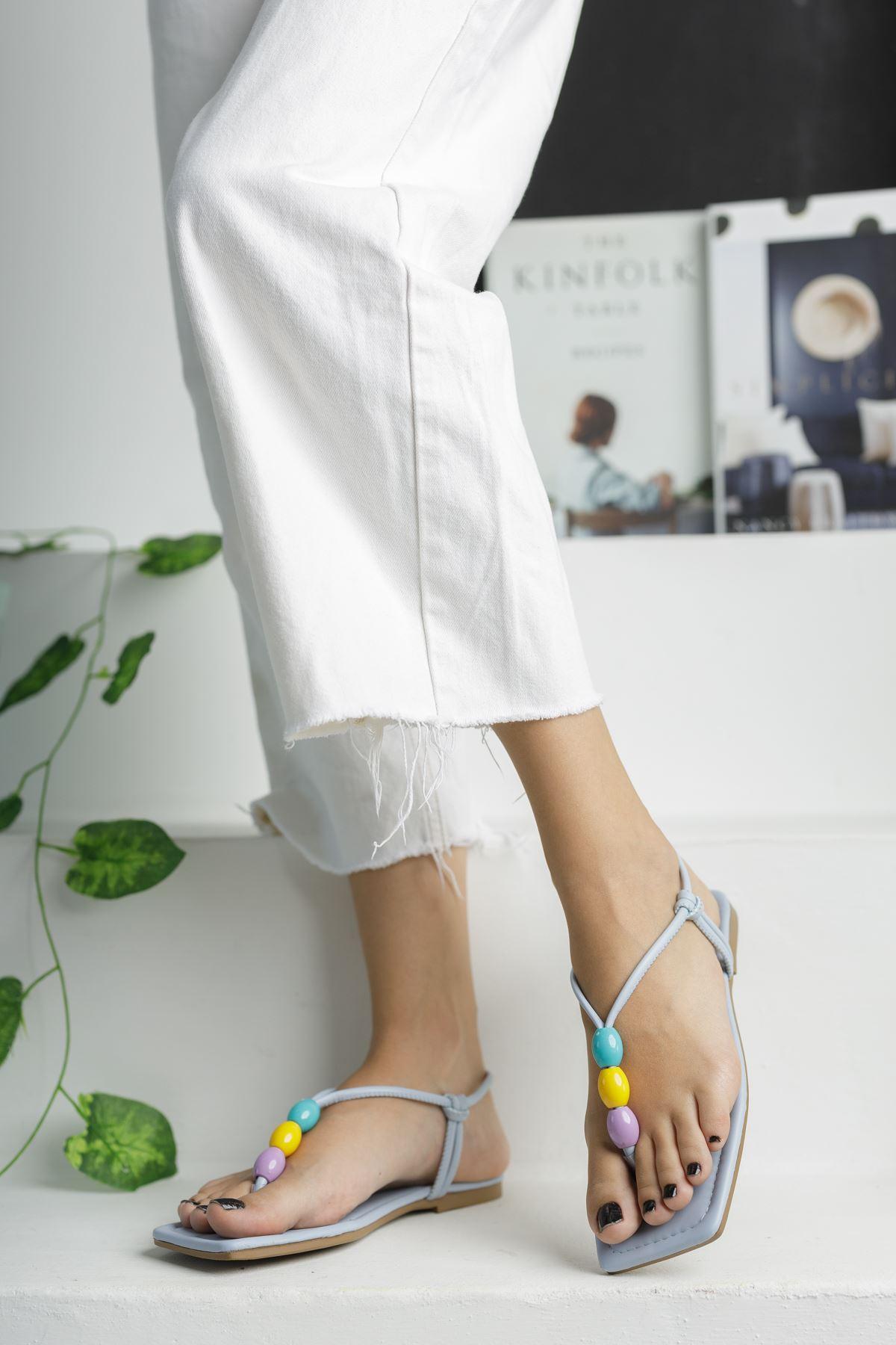 Bebe Mavi Boncuk Detaylı Düz Taban Kadın Sandalet