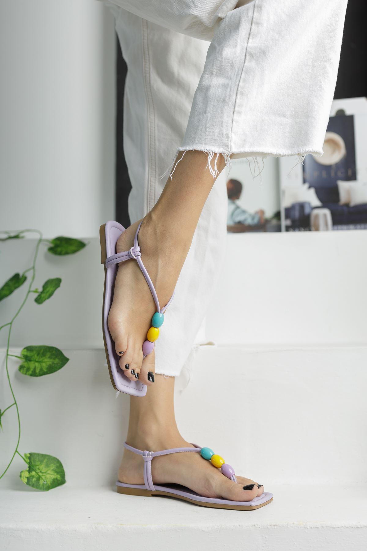 Lila Boncuk Detaylı Düz Taban Kadın Sandalet