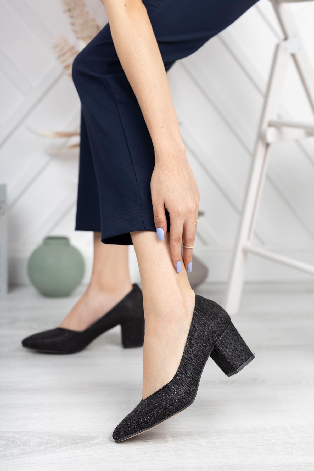 Siyah Simli Kalın Topuklu Abiye Ayakkabı