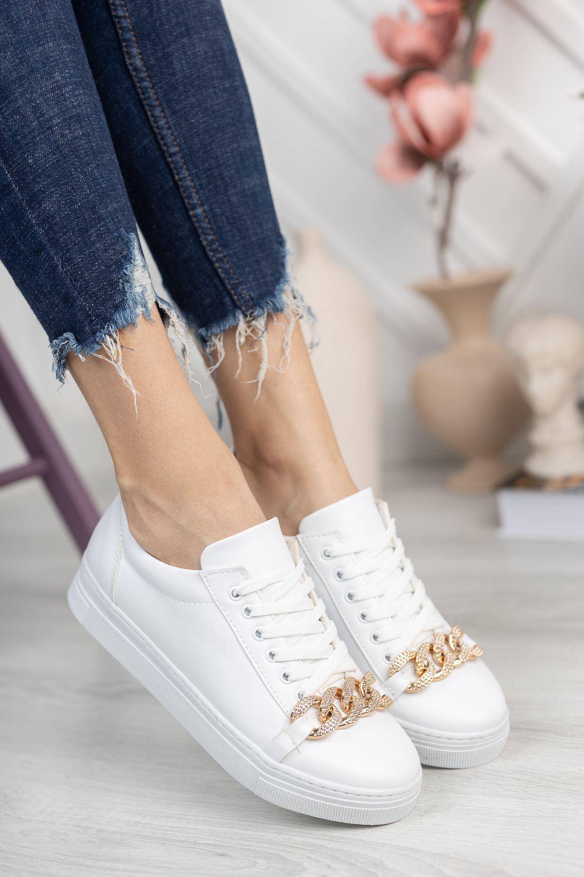 Beyaz Cilt Zincir Detaylı Sneaker